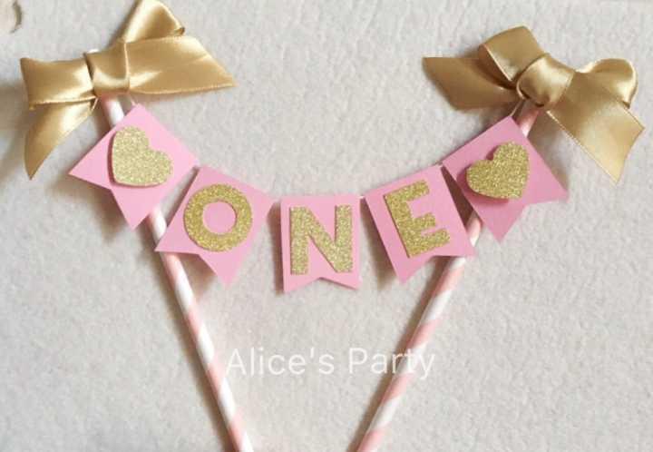 Aliexpress Buy Custom Baby Shower Cake Buntings Pink Gold 1st