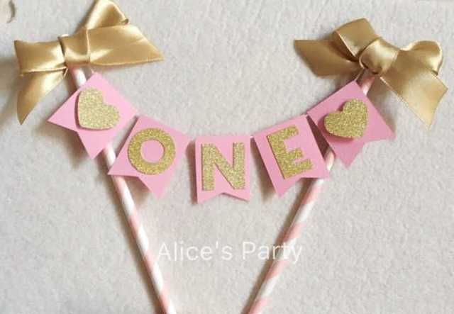 Custom Baby Shower Cake Buntings Pink Gold 1st Birthday Party Toppers Age Number Decorations