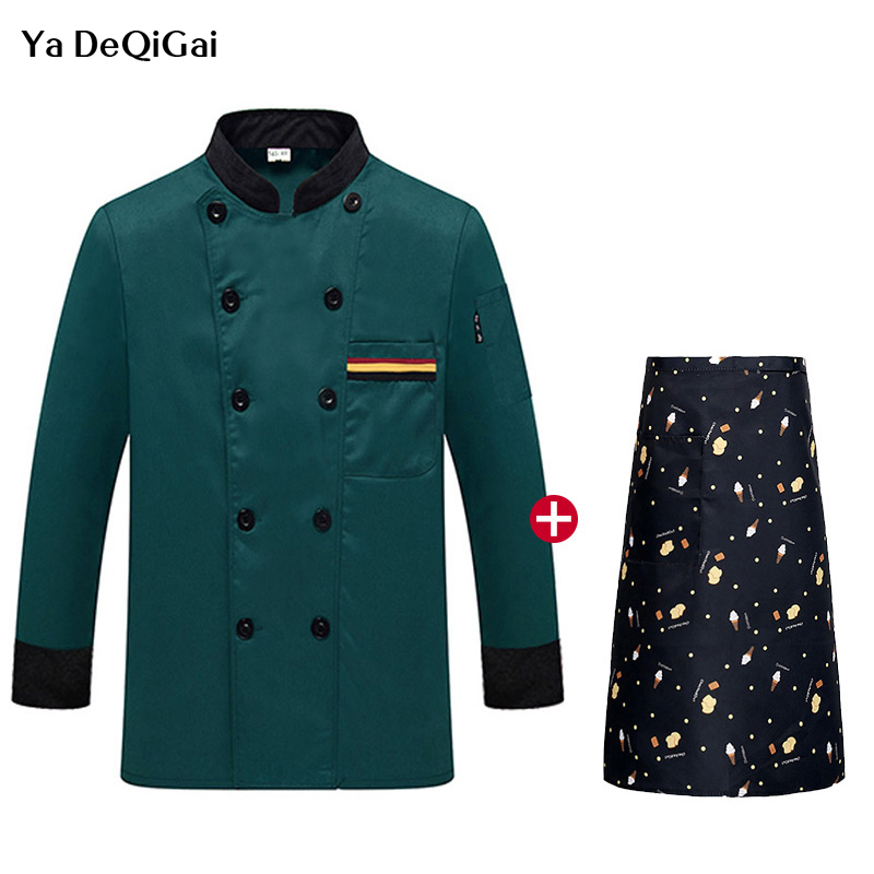 New Long Sleeved Cooking Jacket + Apron Restaurant Hotel Kitchen Chef Uniforms Men And Women Catering Waiter Workwear  Waitress