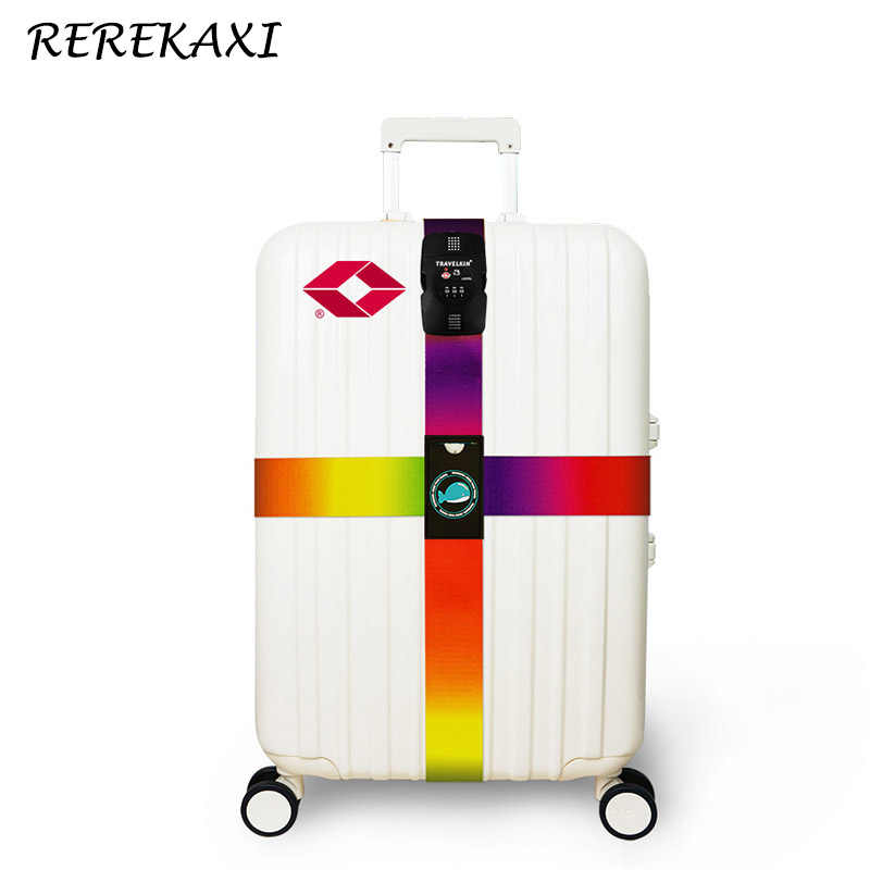 REREKAXI TSA Password Lock Luggage Cross Strap Suitcase Bind Packing Belt Trolley Baggage Polyester Bandage Travel Accessories