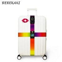3-digit REREKAXI TSA şifre kilit seyahat bagaj bavul çapraz kayış arabası bagaj polyester ambalaj kemer seyahat aksesuarları