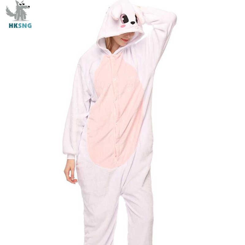 HKSNG hayvan yetişkin mavi tavşan pijama pazen karikatür aile parti cadılar bayramı en iyi hediye Onesies kostümleri pijama Kigurumi