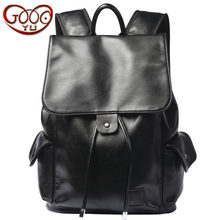 Korean version of the Korean version of the PU leather backpack business trendy fashion shoulder bag travel all waterproof tide(China)