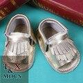 2015 Verano Orzuelo Effent Mocasines Bebé Cordón de Las Muchachas de Las Borlas del Oro Zapato de Bebé de Cuero Suela Blanda Niño Niña bebé Del Envío shoesFree