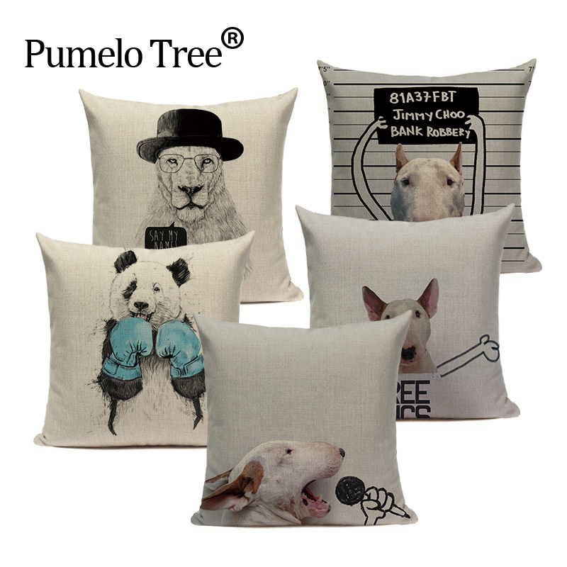 Fashion Nordic Cotton Linen bullterrier Dog Car Home Decorative Throw Pillow 45Cmx45Cm Square Recliner 1 Side Printing Cushion