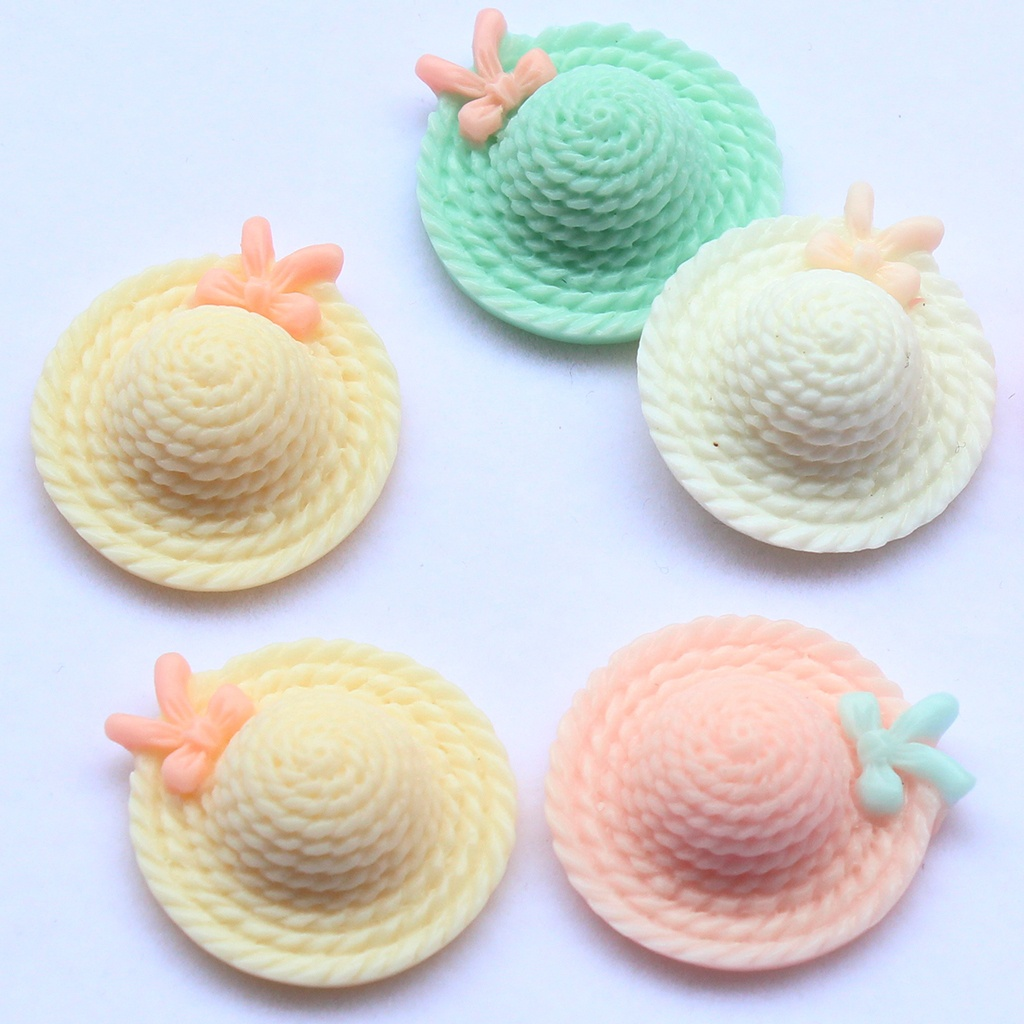 6pcs 26mm Flatback Cute assorted Hat Cabs -DIY cell phone decor hair bow and flower centers, embellishment
