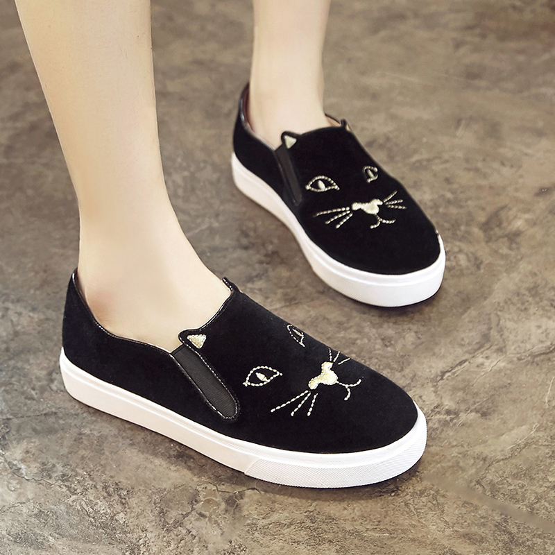 ФОТО Women Velvet Casual Spring  Autumn Shoes Animal Prints Round Toe  Flat Shoes 20170124