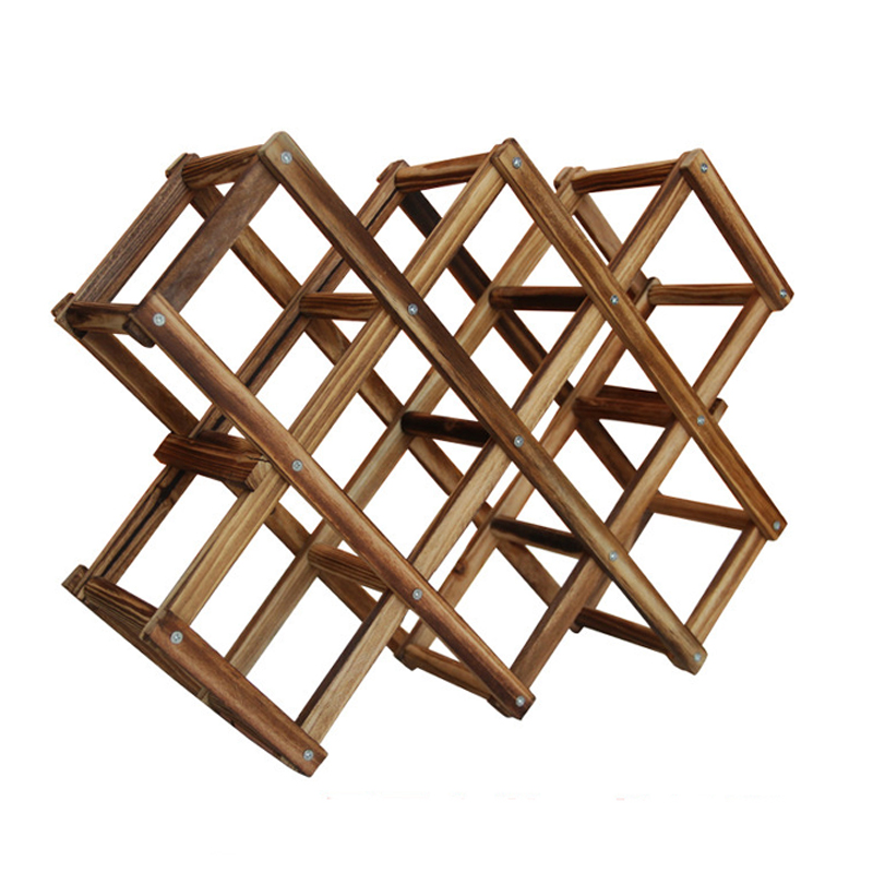 Wood Folding Wine Racks Foldable Wine Stand Wooden Holder 10 Drink ...