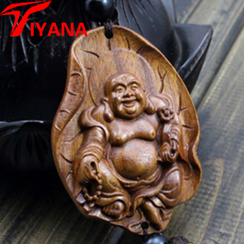 happy buddha chinese wood carving craft supplies for halloween gift folk art souvenir mascot lucky pendant - Religious Halloween Crafts