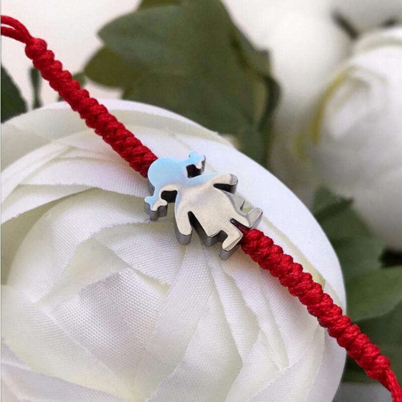 Cute Bear Stainless Steel Little Girl Red Rope Thread String Braid Adjustable Bracelets For Women Girls Lucky Bracelet Jewelry