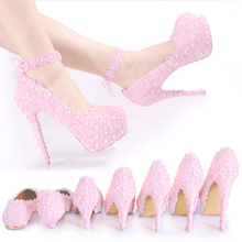 2017 new crystal diamond wedding shoes pink lace Bridesmaid pearl handmade female high heeled Princess Wedding Shoes