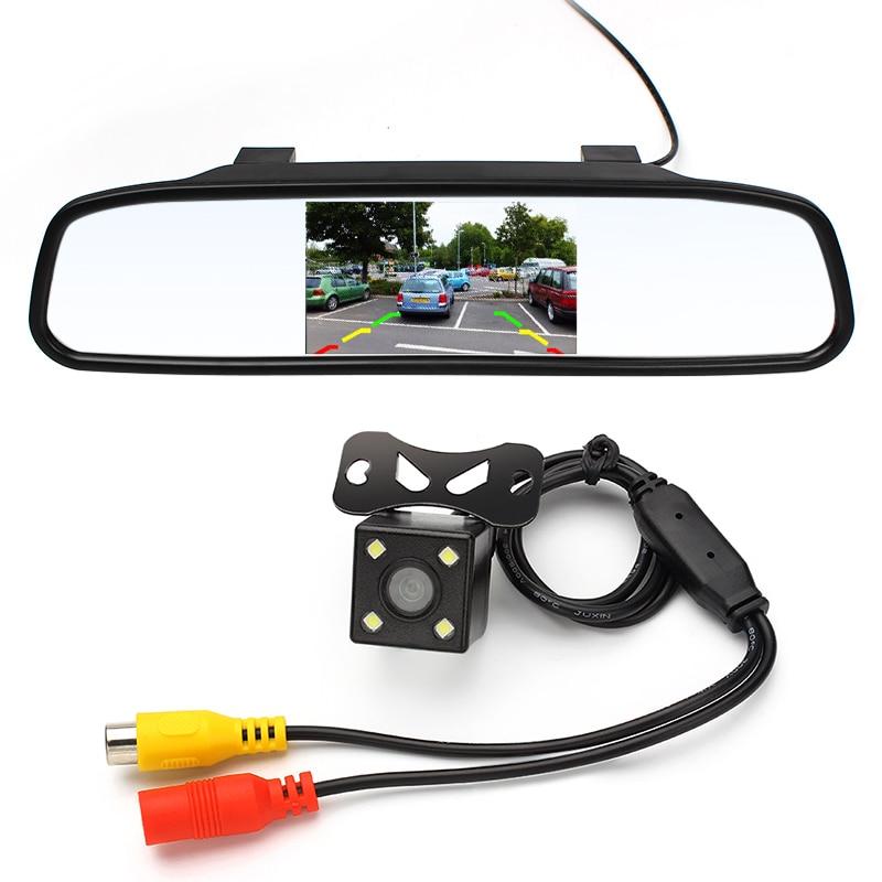 imágenes para 4.3 pulgadas Espejo Retrovisor Del Coche Monitor de Visión Trasera Cámara CCD de Vídeo Auto Ayuda del Estacionamiento del LED de Visión Nocturna Coche Marcha Atrás-styling