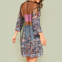 Для женщин Свободные 3/4 рукавом сетки топы цветочной вышивкой видеть сквозь блузку пляжное кимоно кардиган летом Для женщин праздник блузк...