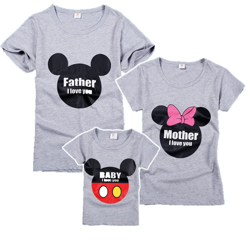 Buy 100 Cotton Family Matching Clothes Grey Cartoon Print T Shirt Family