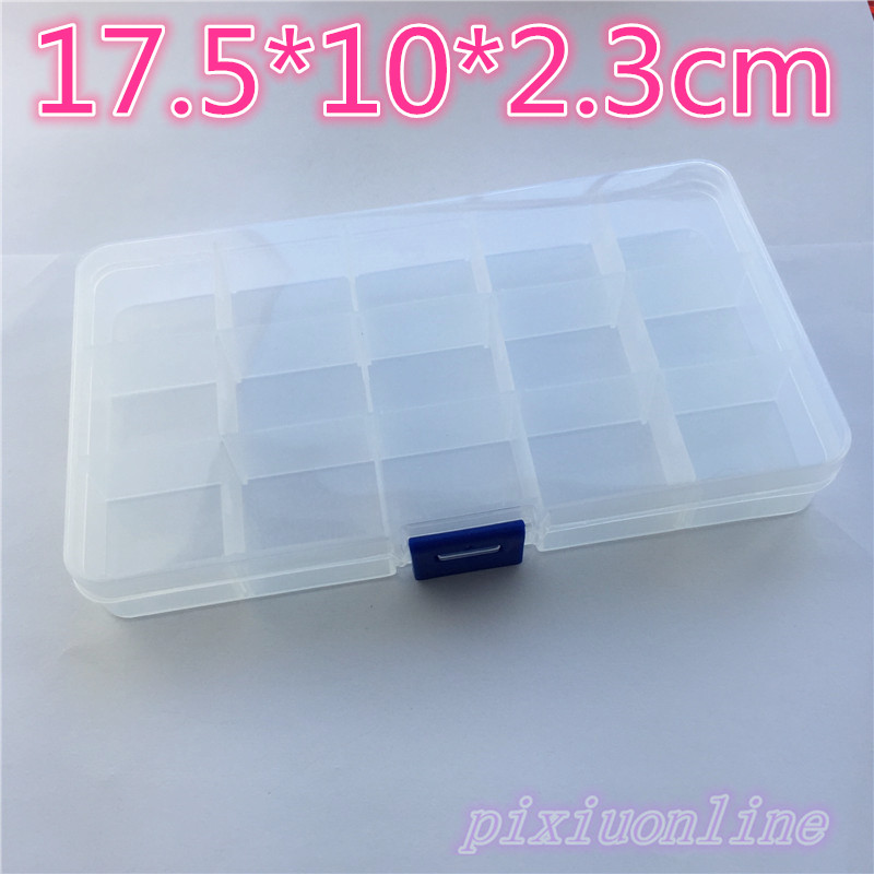 1pc J035Y Rectangle Transparent Parts Storage Box 15 Mobil Grid Storage Parts and Screws Tool Part  High Quality On Sale spark storage bag portable carrying case storage box for spark drone accessories can put remote control battery and other parts