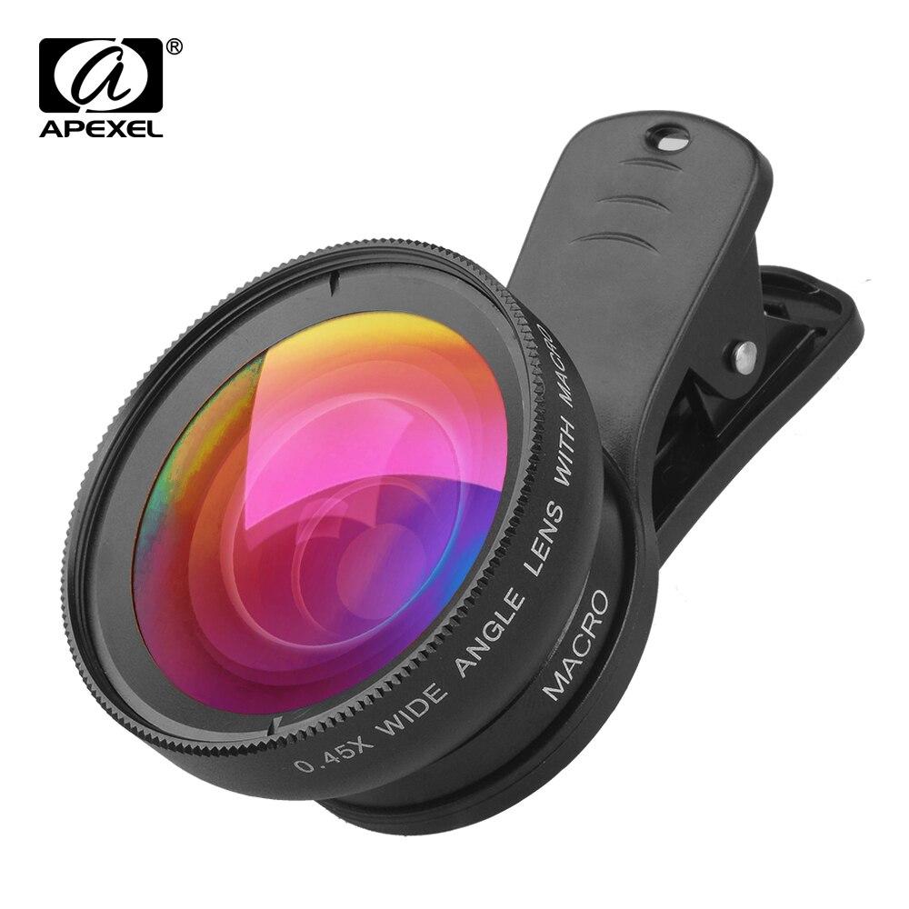 APEXEL 10 Pcs/lot Wholesale Camera Lens Mobile Phone 0.45x Super Wide Angle + 12.5x Super Macro Lens HD for Phone Drop Shipping