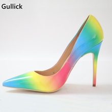 Gullick New Arrivals Rainbow Printed Leather Pumps For Women Pointed Toe Thin High Heels Gladiator Woman Party Office Dress Shoe