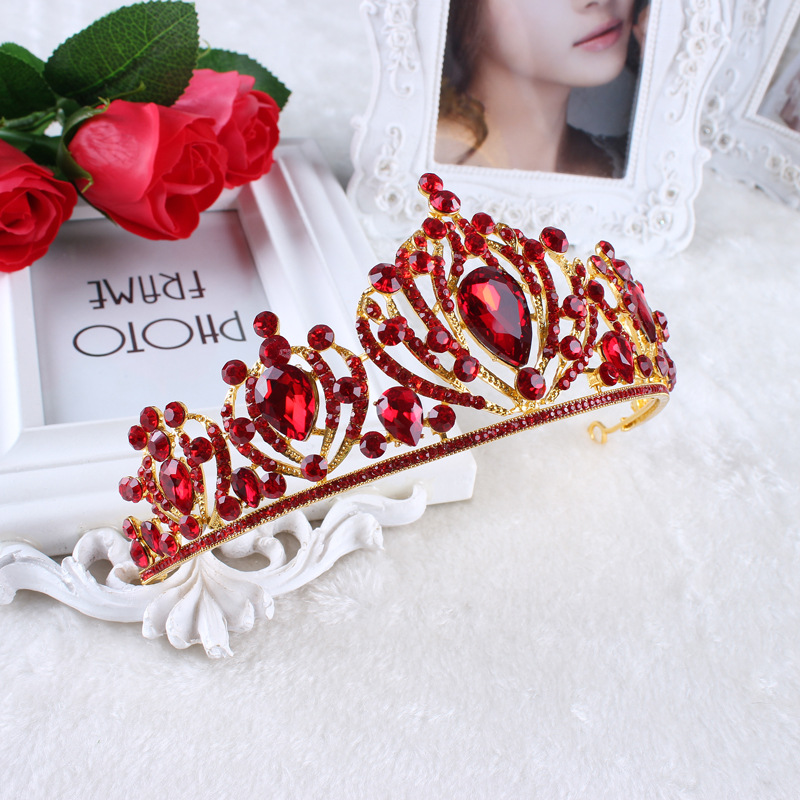 Baroque Vintage Gold Red Crystal Rhinestone Bridal Queen Tiara Wedding Princess Bride Crown Headbands Hair Jewelry Accessories
