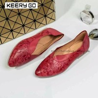 Embossed sheepskin flat bottom shoes full leather intellectuality elegant fashion all match Women's Shoes