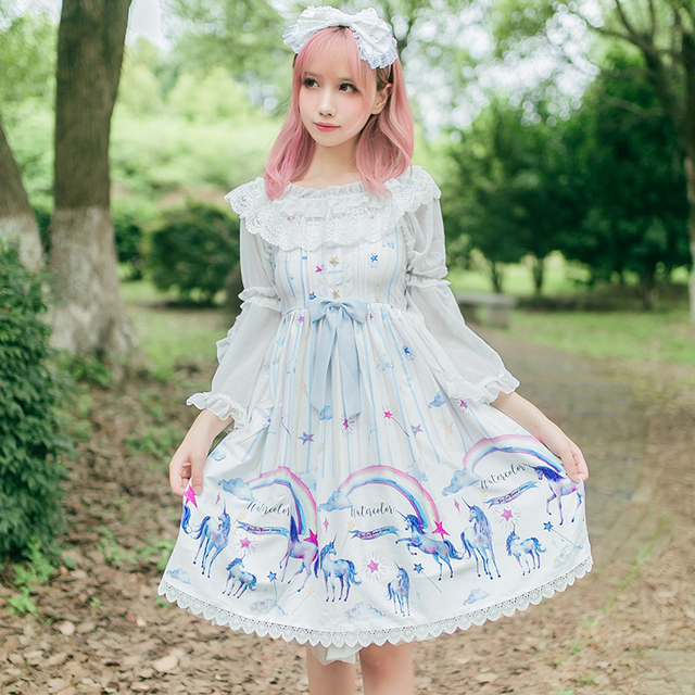 Princess Sweet Lolita Brocade Garden Lolita Dress Unicorn Princess Dress Zjy