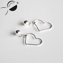 Kissilver Bead Pendant hollow love S925 Sterling Silver Earrings ear clip simple temperament Korean sweet female accessories