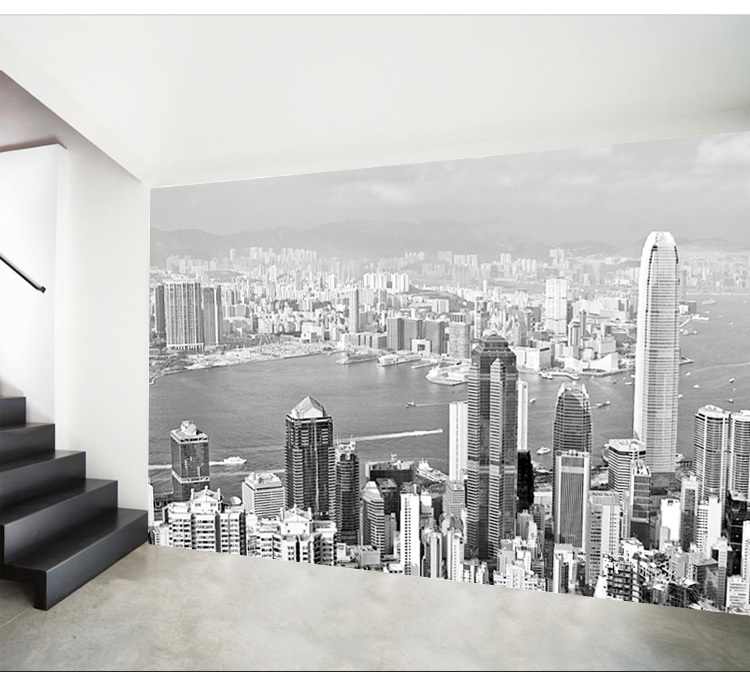 Simple black and white wallpaper office in Hong Kong City ...