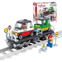 J525 Train Track Car Building Block Sets 118pcs Enlighten Child Educational Construction Bricks Toys Kids Gift