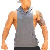 Men Waistcoat Fitness Hooded Tank Top Racerback Casual Vests