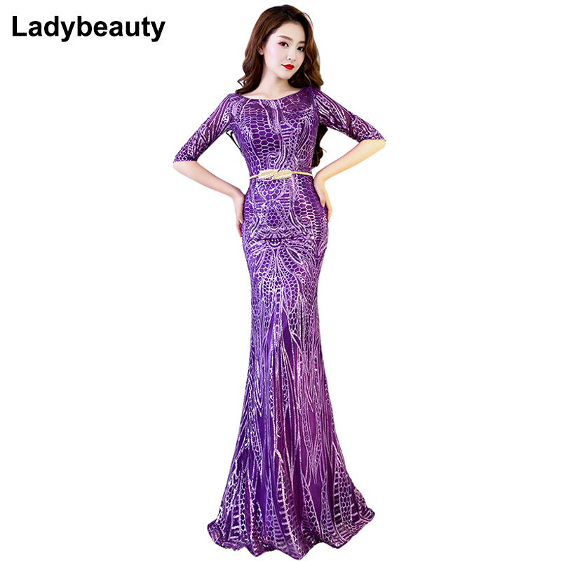 Ladybeauty 2018 Sexy Mermaid Evening Dress Half Sleeves Evening Dresses Long Formal Party Gown Vestido De Festa