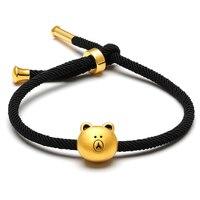 Чистый 24 К желтого золота браслет 3D 999 Золото милый ребенок браслет