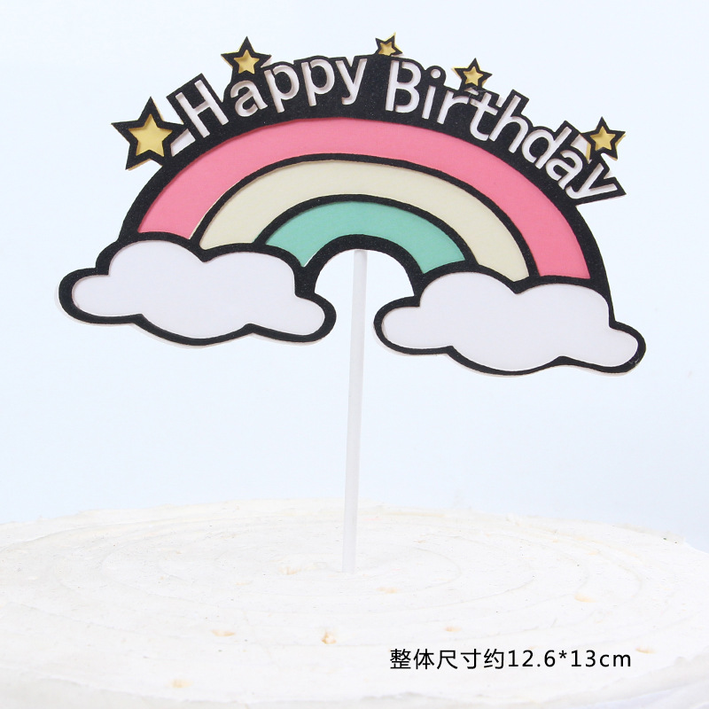New Rainbow Cloud Cake Decoration Rainbow Dessert Decoration Happy Birthday Romantic Fire Balloon Theme Cake Topper in Cake Decorating Supplies from Home Garden