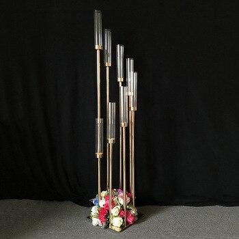 De cristal de la boda Pilar camino lleva Flor de lujo Mesa vela titular 8-cabezas candelabro boda decoración 4 unids/lote