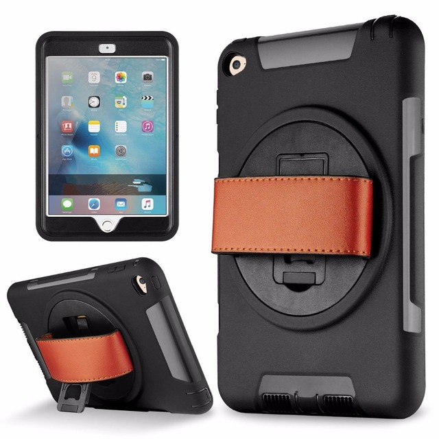 finest selection 65778 ae1cd US $15.93 36% OFF|RUKWAACH Shockproof Heavy Duty Case for iPad Air 2  Protect Skin Rubber Hybrid Cover Stand Case w/ Hand Leather Strap for iPad  6-in ...