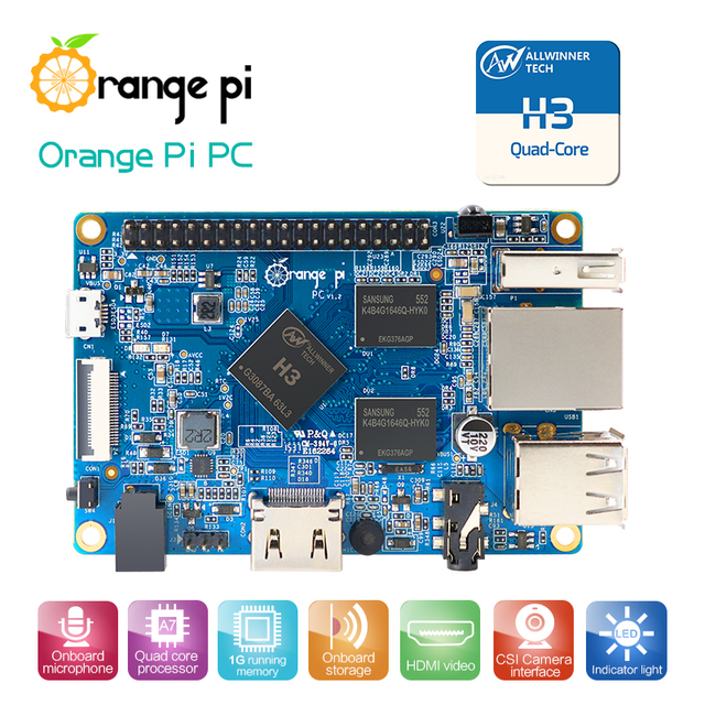 Orange Pi PC H3 Quad-core 1 GB prend en charge la vente en gros de mini-pc linux et android Lubuntu est disponible