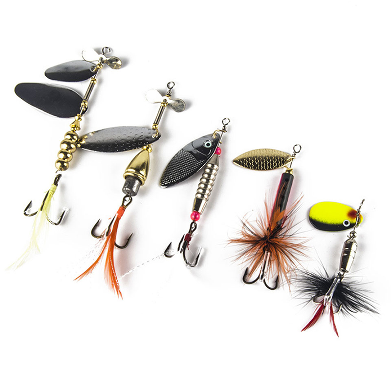 5PCS Fishing Lure pesca Mepps Spinner bait Spoon Lures With Mustad Treble Hooks Peche Jig Anzuelos isca Pesca HQ048 4pcs set of fishing lures saltwater hard bait metal spoon fishing lure spinner wobbler treble hooks for sea fishing accessory