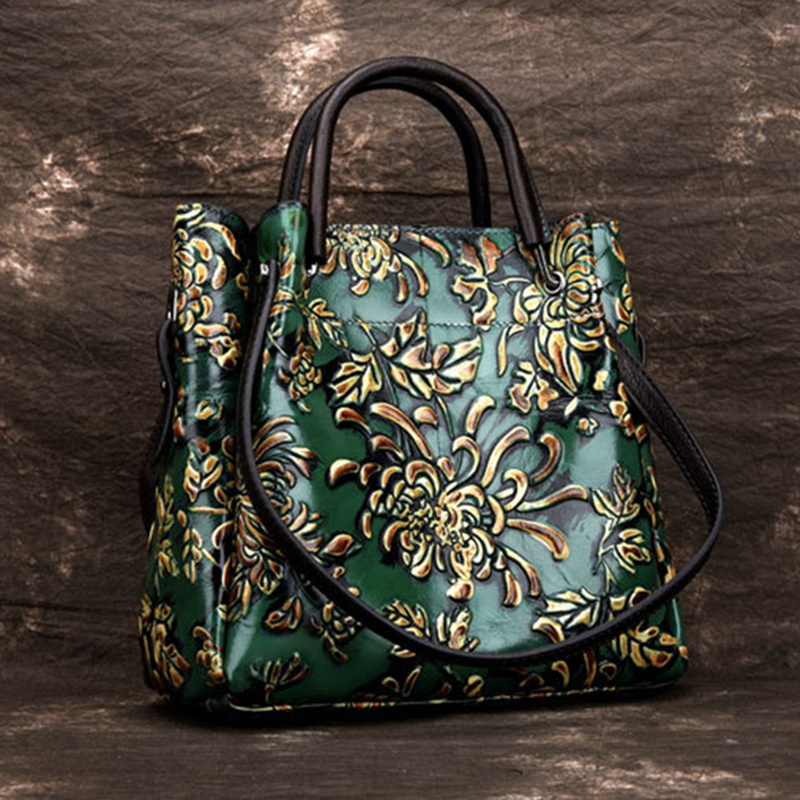 Genuine Leather Women Top Handle Messenger Bag Embossed Tote Floral Pattern Real Cowhide High Quality Shoulder