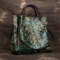 Natural Skin Embossed Messenger Shoulder Female Handbag Tote Bags Floral High Quality Genuine Leather Women Top Handle Bag