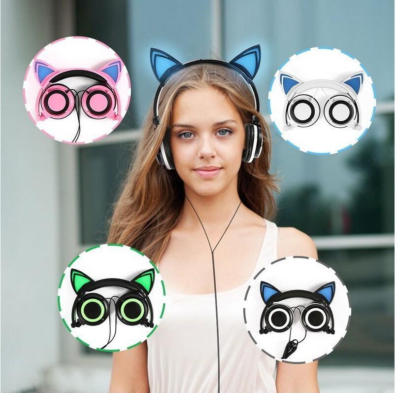 Cute Cat Ear Cuffie Creatività Luminoso Pieghevole Lampeggiante Ardore Gaming Headset con la luce del LED Per Sumsung Xiaomi PC Laptop