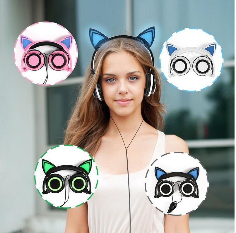 Cute Cat Ear Headphones Creatives Luminous Foldable Flashing Glowing Gaming Headset with LED light For Sumsung Xiaomi PC Laptop foldable bear ear recharging headphones panda gaming headset with glowing led light halloweeen gift for girls kids adults phones