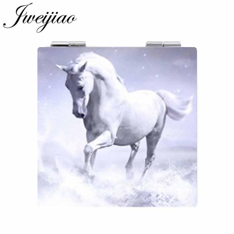 JWEIJIAO Cavallo Bianco a forma di Unicorno Piazza 1X/2X Lente di Ingrandimento Pieghevole Mini Specchio Della Tasca di Arte di Cuoio DELL'UNITÀ di elaborazione espejo specchio per Il Trucco