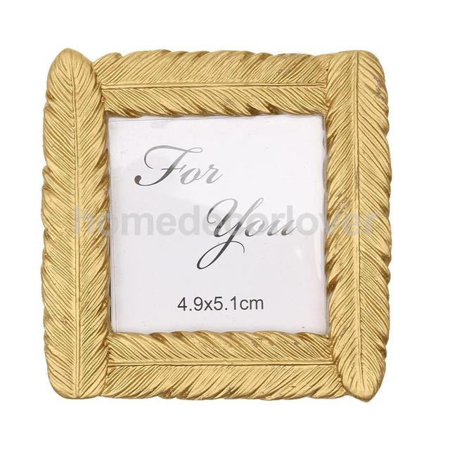 novelty gold feather small photo frame card picture holder