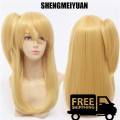SHENGMEIYUAN New ! Cosplay Party Wigs  FAIRY TAIL Lucy Heartphilia Long Golden Natural Straight Hair Cosplay Wig + One Ponytail