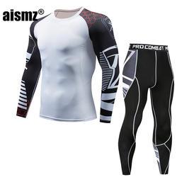 Aismz Мужская футболка с длинным рукавом + брюки компрессионные комплекты Moletom Masculino спортивный костюм мужской Юнион костюм MMA rashgard комплект