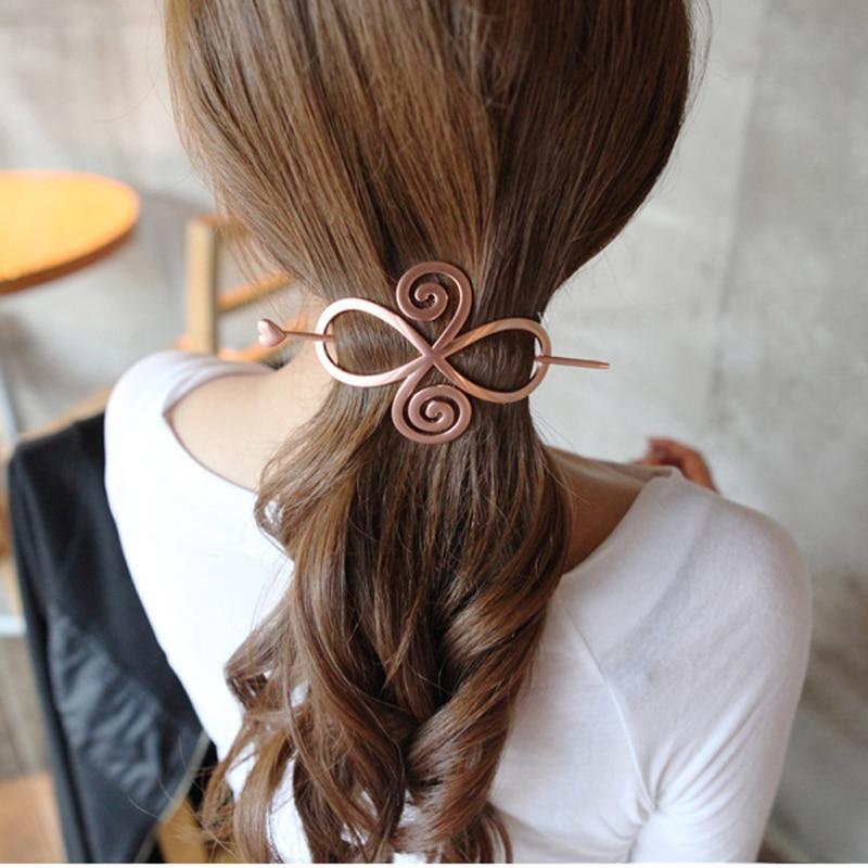 Retro Elegant Metal Hairpins Hairclip For Women Hollow Out Updo Hair Stick Hair Barrette Long Hair Slide Clip Hair Accessories