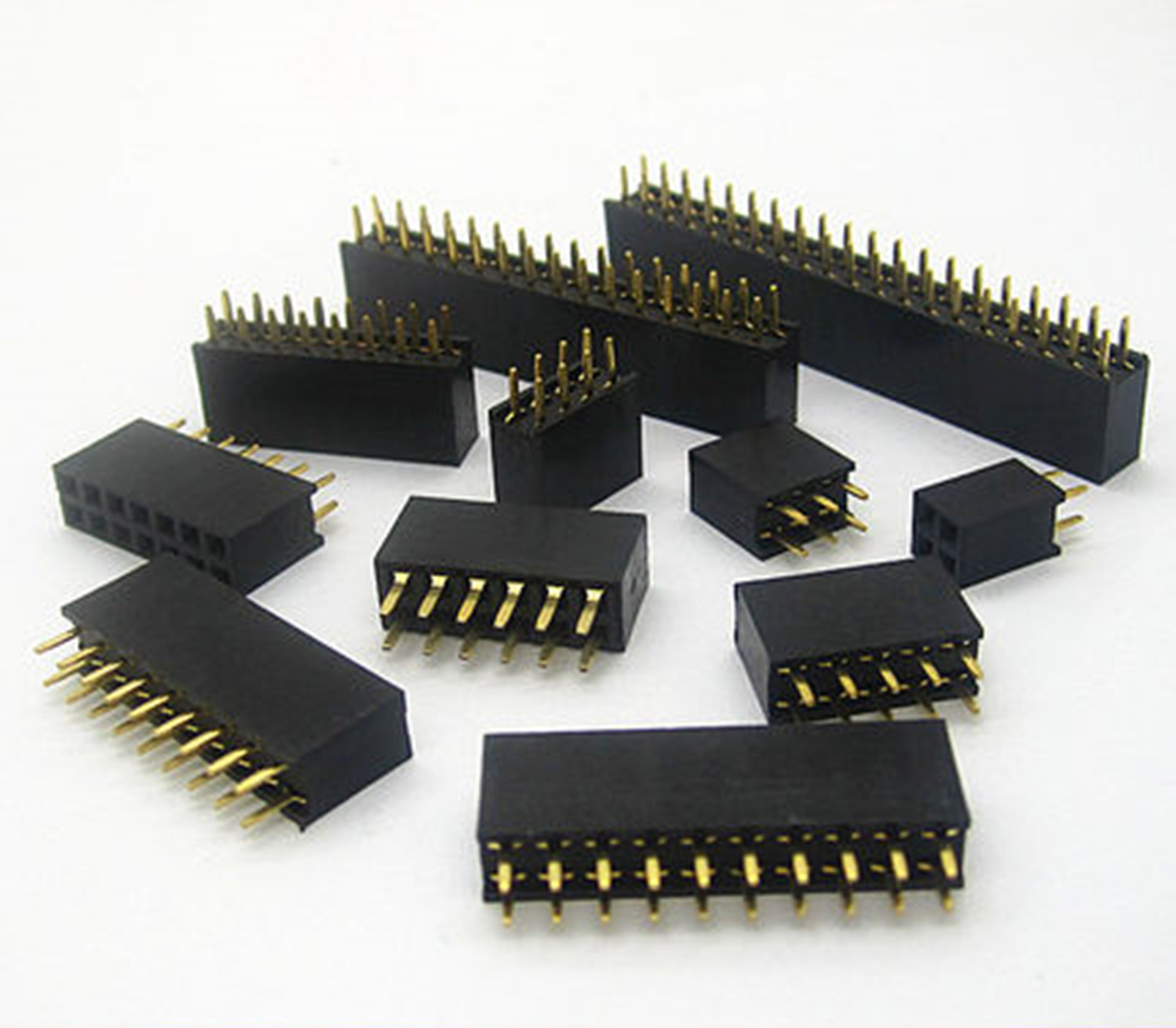 2x2/3/4/5/6/7/8/9/10/11/12/13/14/15/16/17/18/20/25/40Pin Pitch 2.54mm Double Row Stright Female Pin Header Strip PCB Connector 14 15 3 2015