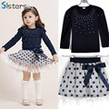 2017 New brand spring girls T-shirt + skirt 2pcs clothing Diamond dot bow dress children's skirt set costume for kids clothes