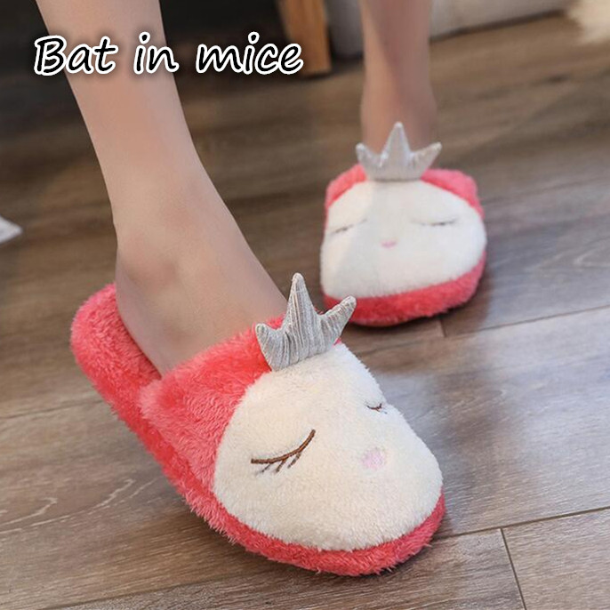 New winter Soft Plush Cotton Cute Slippers Shoes Non-Slip Floor ,Indoor House ,Home Furry Slippers Women Shoes For Bedroom Z131 new 2017 house shoes cute happy big feet style giant toe footwear winter warm plush slippers soft unisex indoor shoes