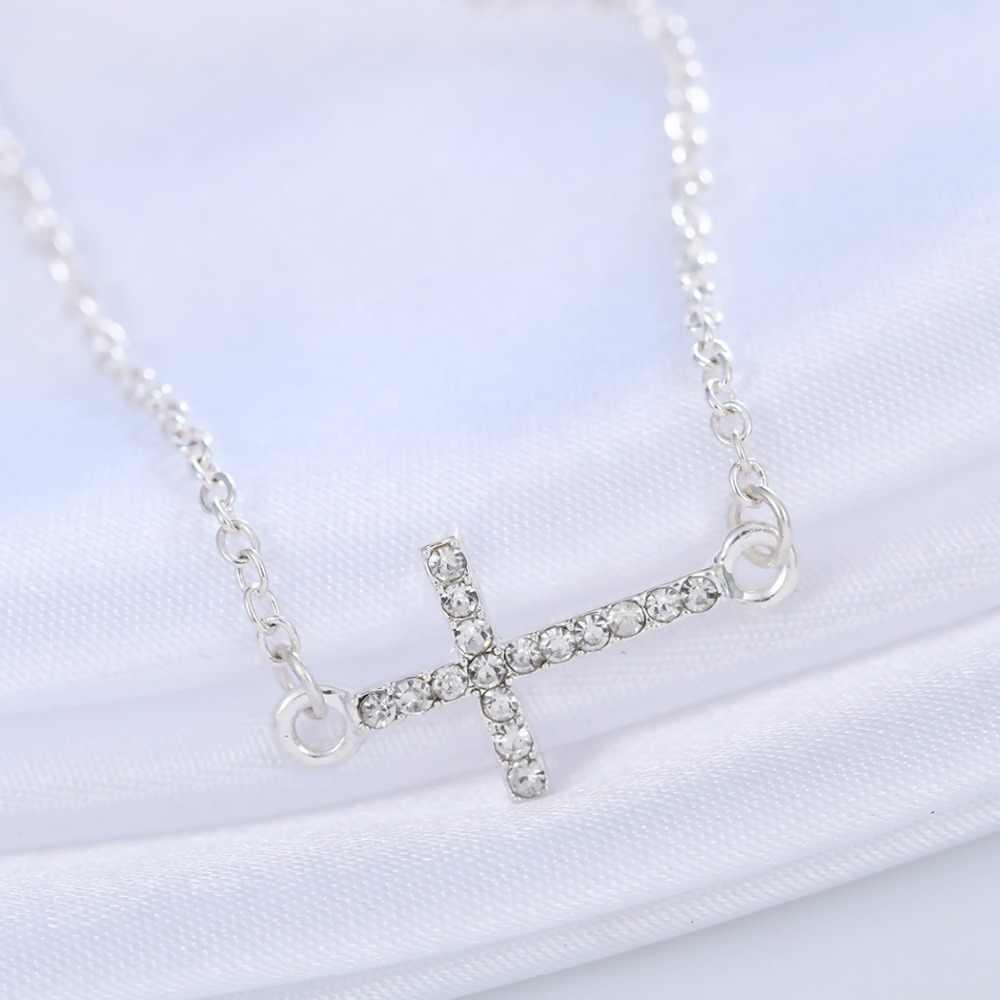 QIMING горный хрусталь крест браслет Femme женский Христос Подвеска с Иисусом CZ Кристалл Модные Ювелирные Браслеты Женские подарки