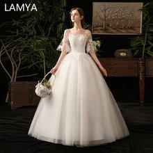 купить LAMYA Lace Appliques Flare Sleeve Ball Gowm Wedding Dress Simple Lace Up Bridal Gown Plus Size Cheap Vestido De Noiva дешево