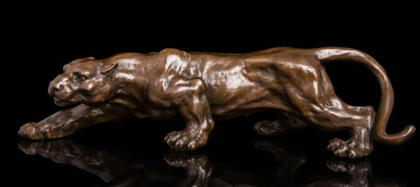 15 Inch Art Deco Sculpture Jaguar Panther Animal Bronze Statue R0712 B0403